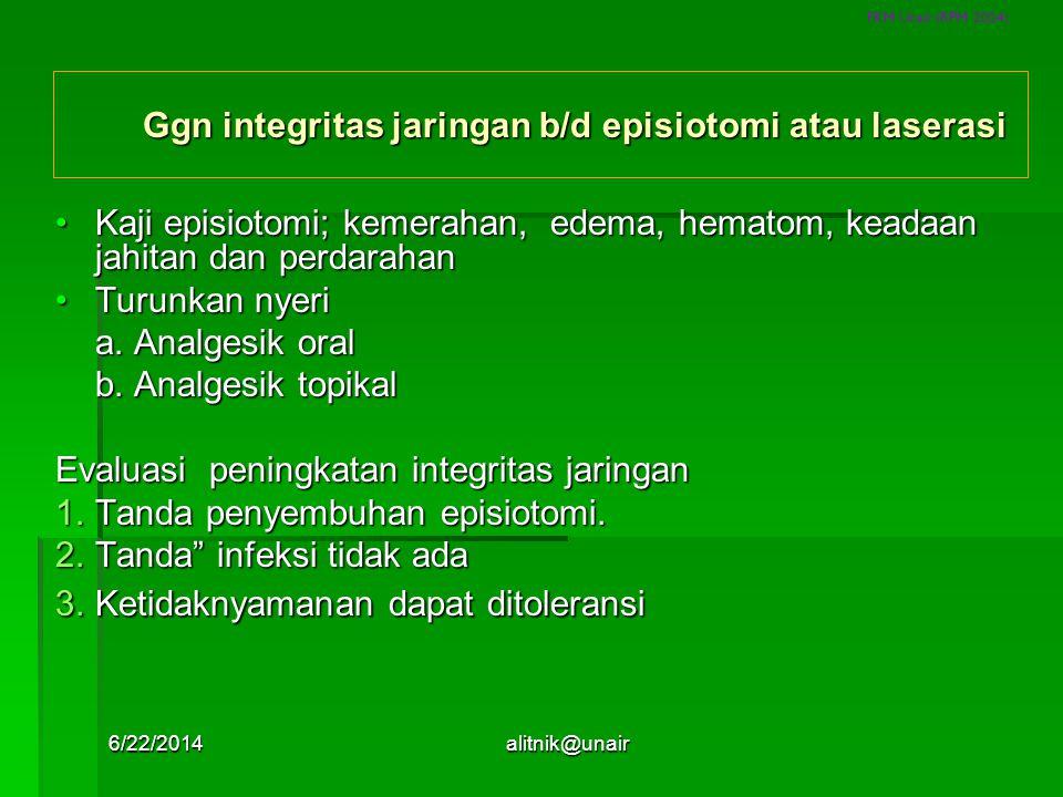 Ggn integritas jaringan b/d episiotomi atau laserasi