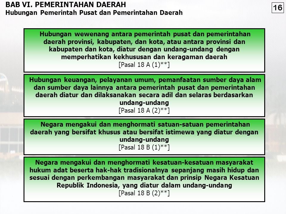 16 BAB VI. PEMERINTAHAN DAERAH