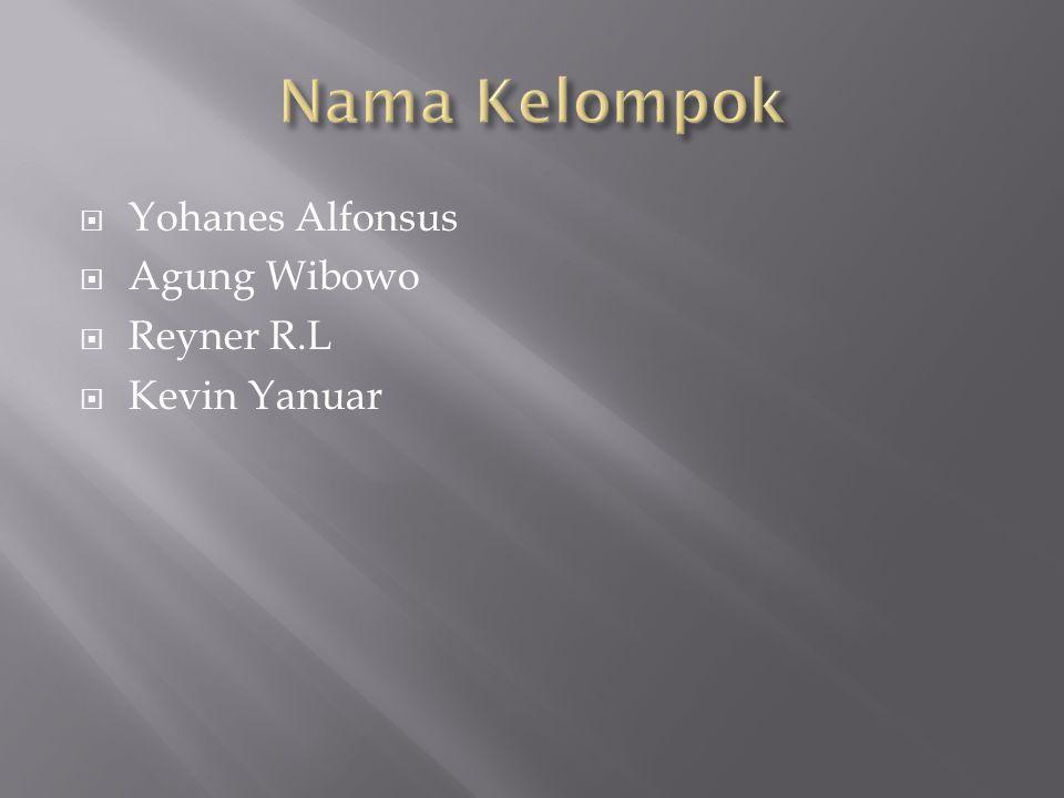 Nama Kelompok Yohanes Alfonsus Agung Wibowo Reyner R.L Kevin Yanuar