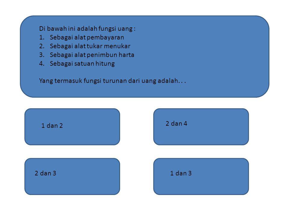 Di bawah ini adalah fungsi uang :