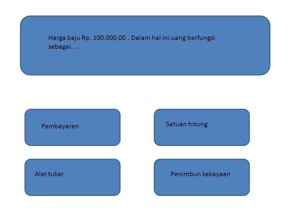 Harga baju Rp. 100.000,00 . Dalam hal ini uang berfungsi sebagai. . .