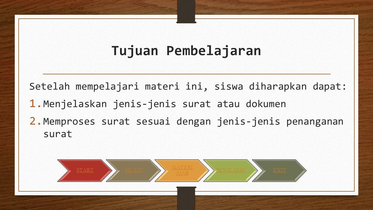 Tujuan Pembelajaran Setelah mempelajari materi ini, siswa diharapkan dapat: Menjelaskan jenis-jenis surat atau dokumen.