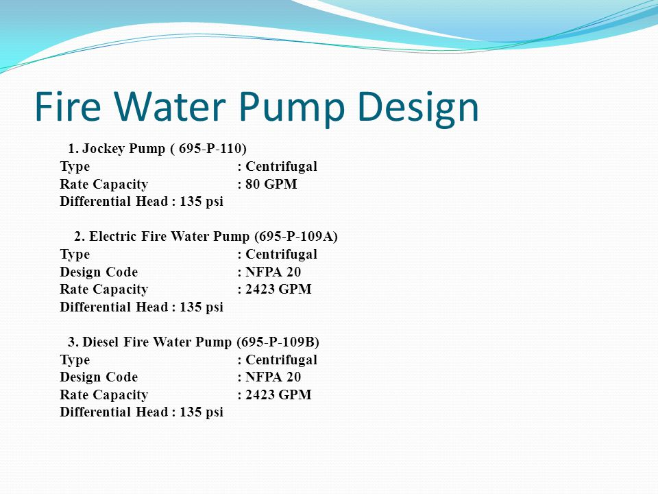 Fire Water Pump Design 1. Jockey Pump ( 695-P-110) Type : Centrifugal