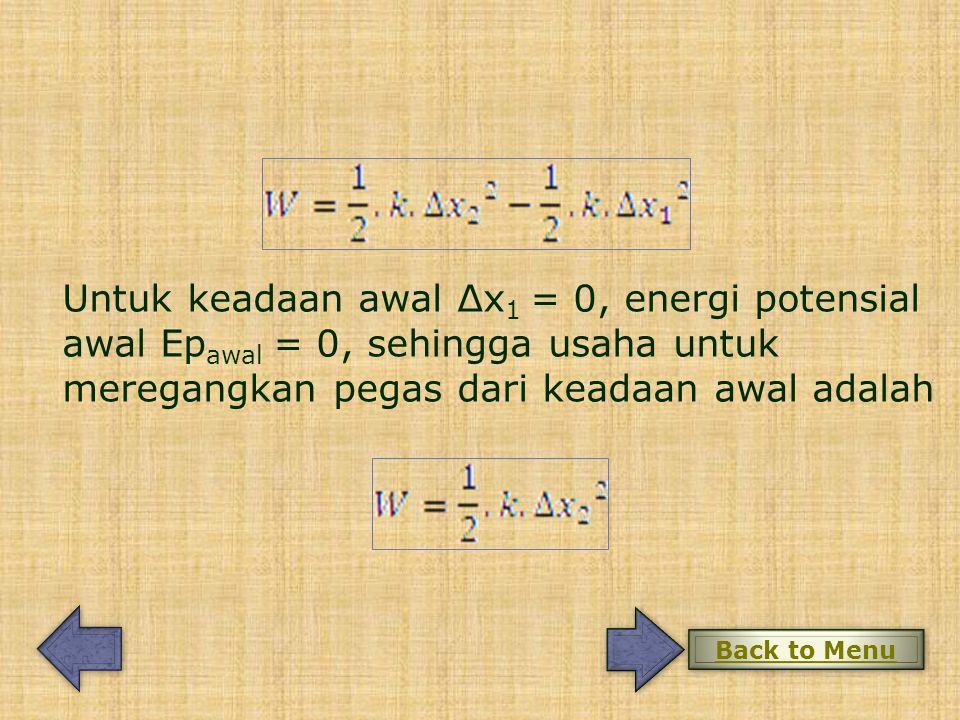 Untuk keadaan awal Δx1 = 0, energi potensial awal Epawal = 0, sehingga usaha untuk meregangkan pegas dari keadaan awal adalah