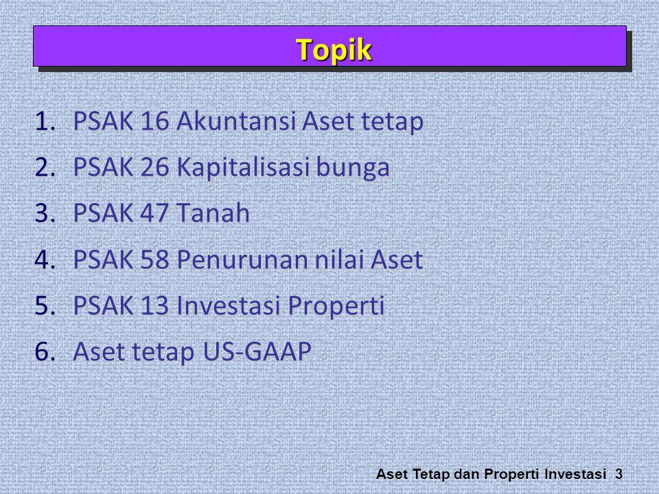 Topik PSAK 16 Akuntansi Aset tetap PSAK 26 Kapitalisasi bunga