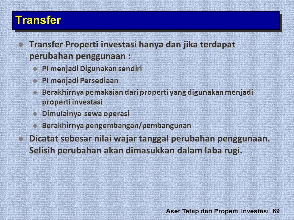 Transfer Transfer Properti investasi hanya dan jika terdapat perubahan penggunaan : PI menjadi Digunakan sendiri.