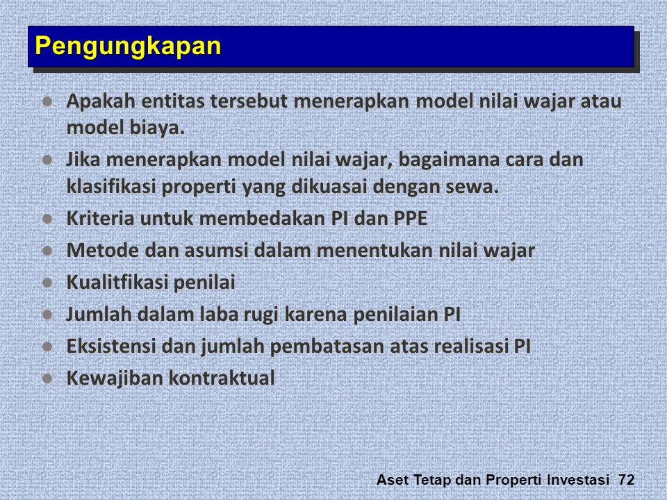 Pengungkapan Apakah entitas tersebut menerapkan model nilai wajar atau model biaya.