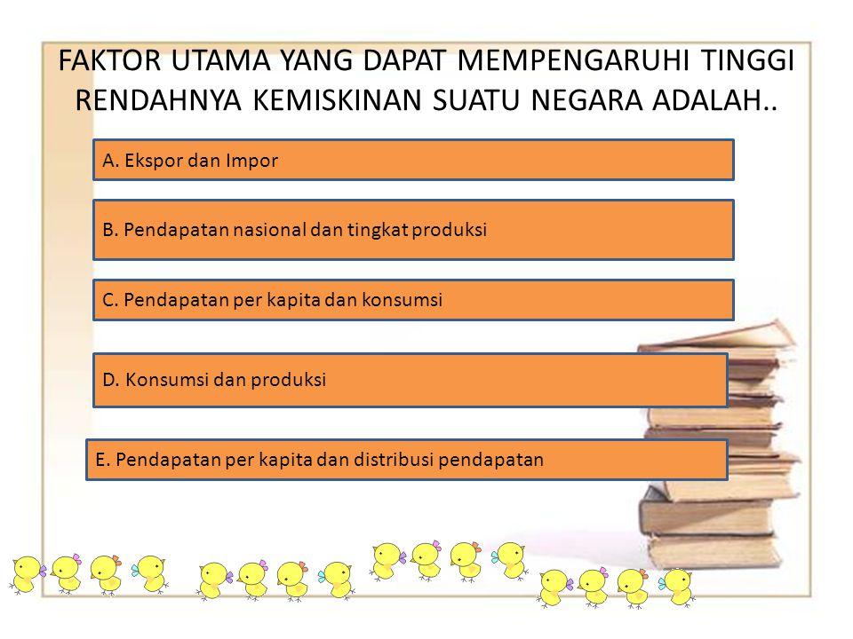 FAKTOR UTAMA YANG DAPAT MEMPENGARUHI TINGGI RENDAHNYA KEMISKINAN SUATU NEGARA ADALAH..