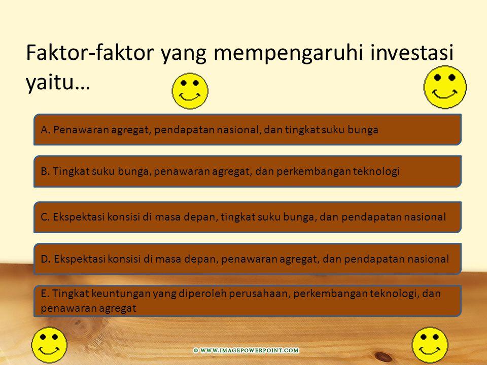 Faktor-faktor yang mempengaruhi investasi yaitu…