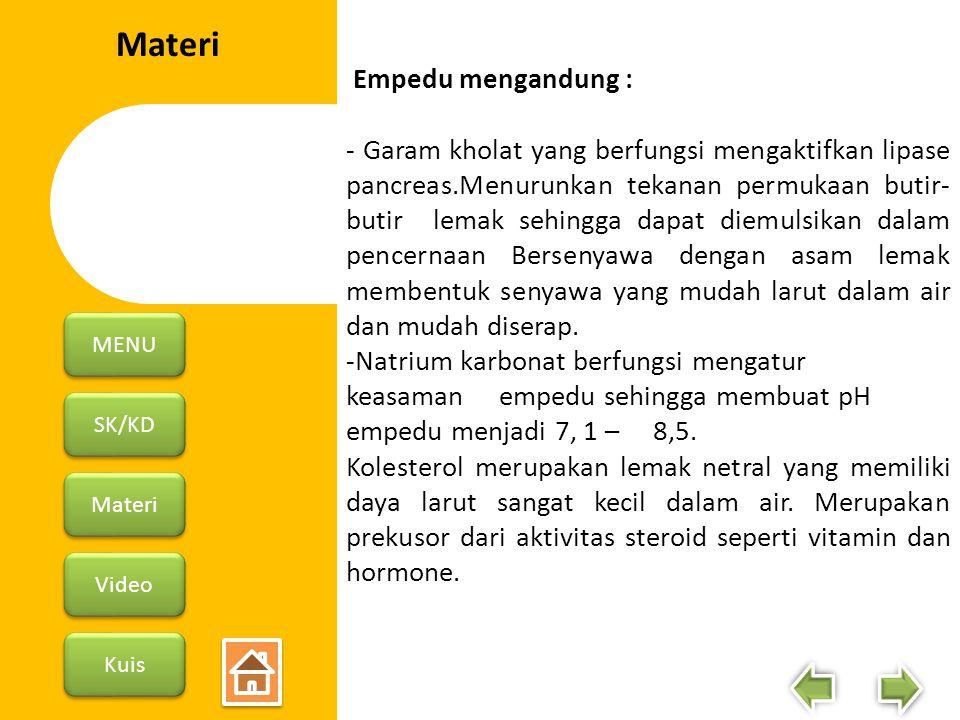 Materi Empedu mengandung :