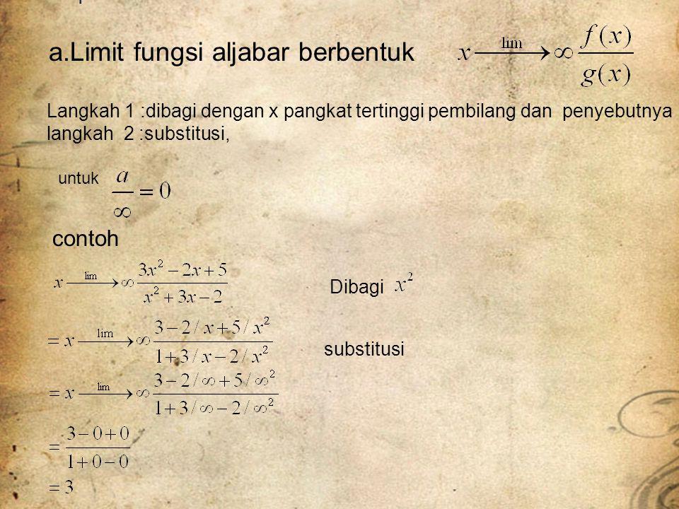 a.Limit fungsi aljabar berbentuk