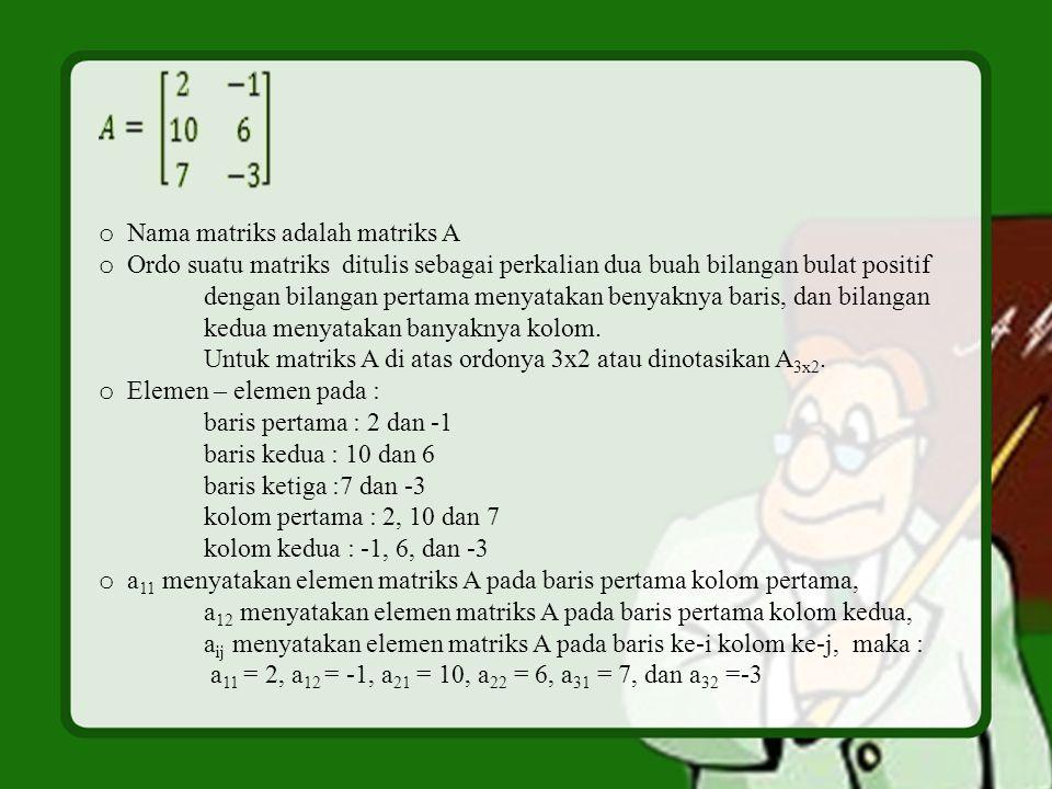 Nama matriks adalah matriks A