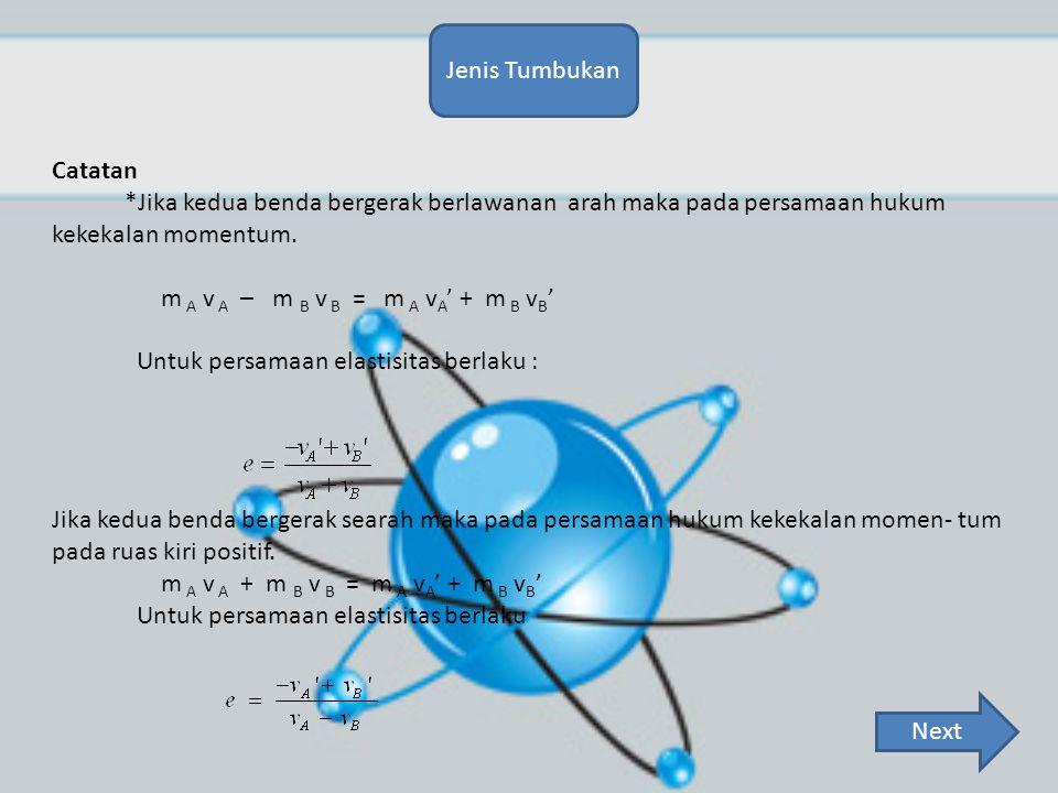 Jenis Tumbukan Catatan. *Jika kedua benda bergerak berlawanan arah maka pada persamaan hukum kekekalan momentum.