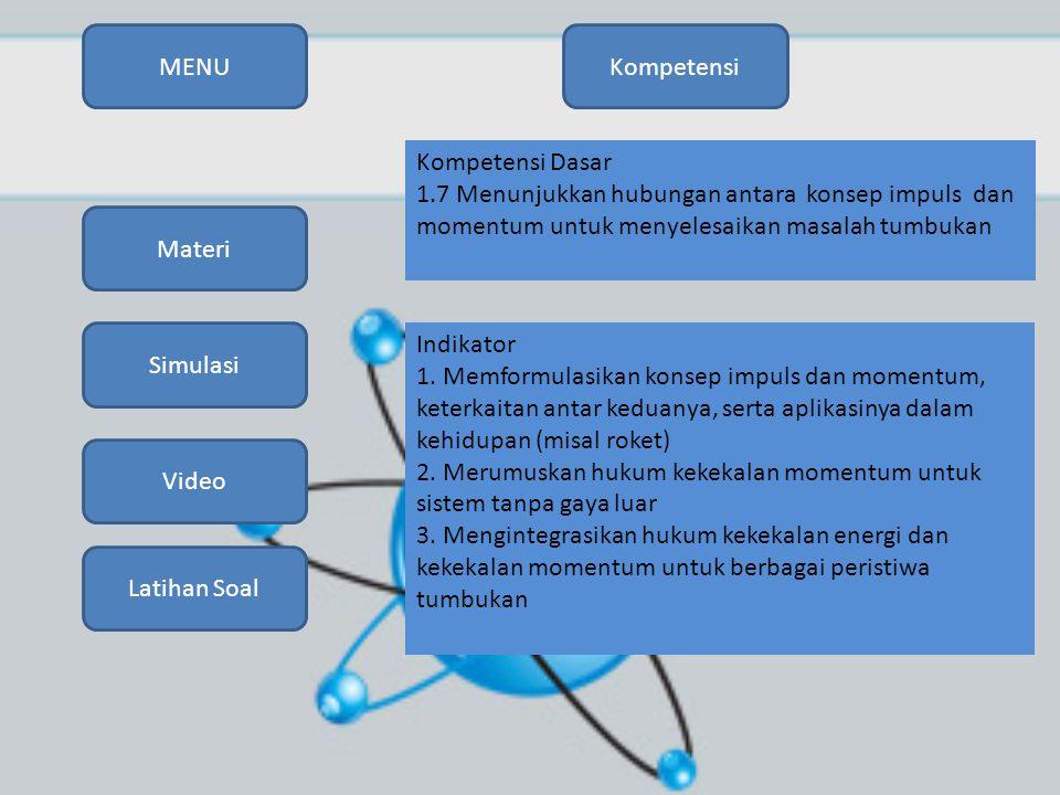 MENU Kompetensi. Kompetensi Dasar. 1.7 Menunjukkan hubungan antara konsep impuls dan momentum untuk menyelesaikan masalah tumbukan.