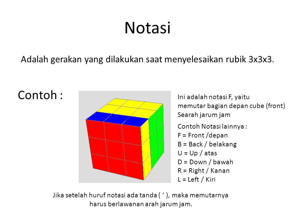 Notasi Adalah gerakan yang dilakukan saat menyelesaikan rubik 3x3x3. Contoh : Ini adalah notasi F, yaitu.