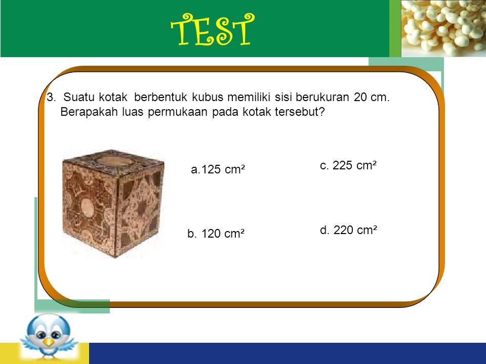 TEST 3. Suatu kotak berbentuk kubus memiliki sisi berukuran 20 cm.
