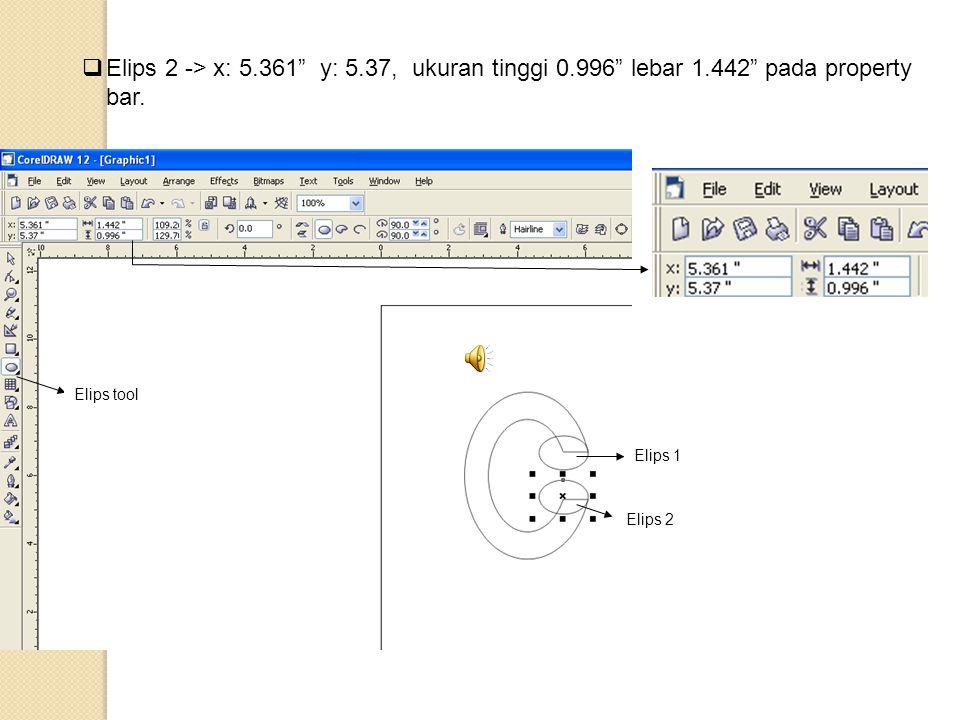 Elips 2 -> x: 5. 361 y: 5. 37, ukuran tinggi 0. 996 lebar 1