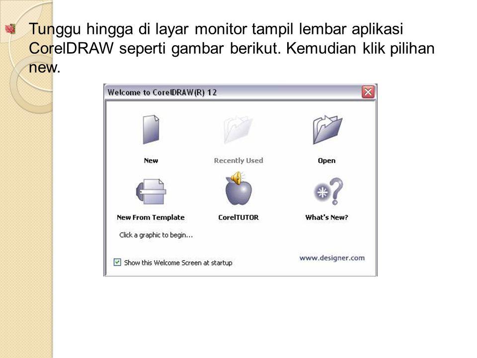 Tunggu hingga di layar monitor tampil lembar aplikasi CorelDRAW seperti gambar berikut.