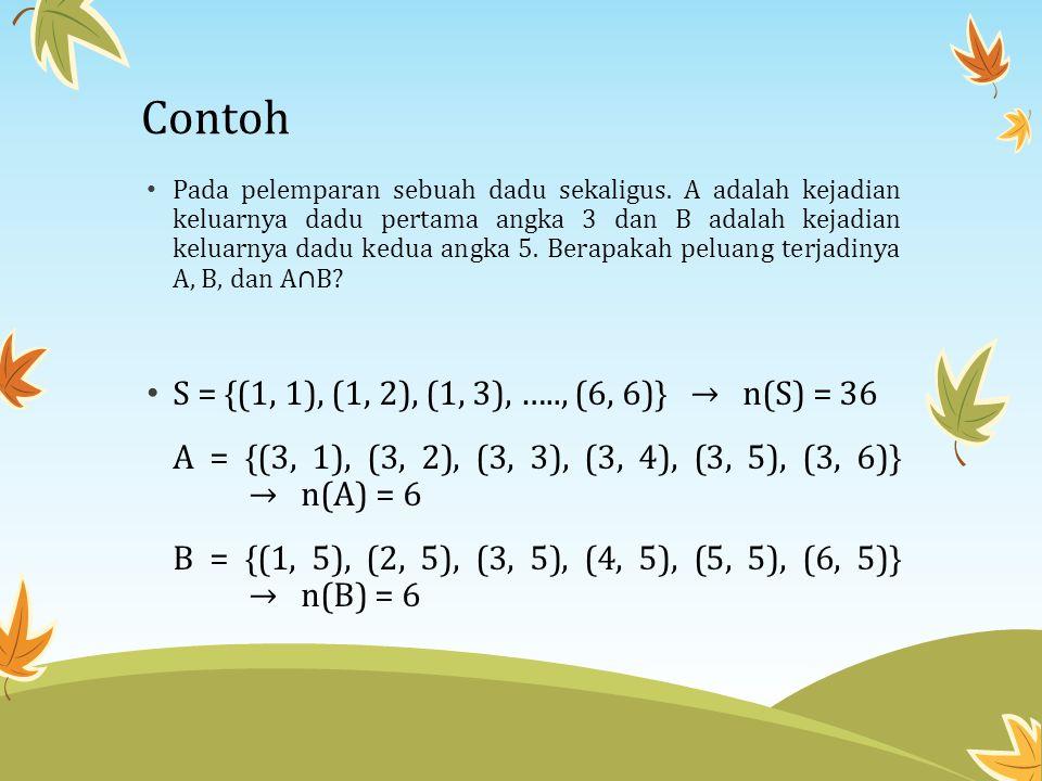 Contoh S = {(1, 1), (1, 2), (1, 3), ….., (6, 6)} → n(S) = 36