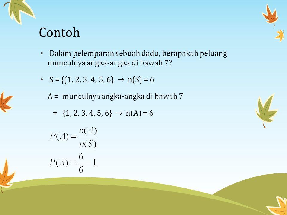 Contoh Dalam pelemparan sebuah dadu, berapakah peluang munculnya angka-angka di bawah 7 S = {(1, 2, 3, 4, 5, 6} → n(S) = 6.