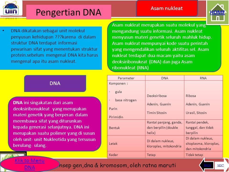 Pengertian DNA Asam nukleat HOME DNA Klik to Menu DNA