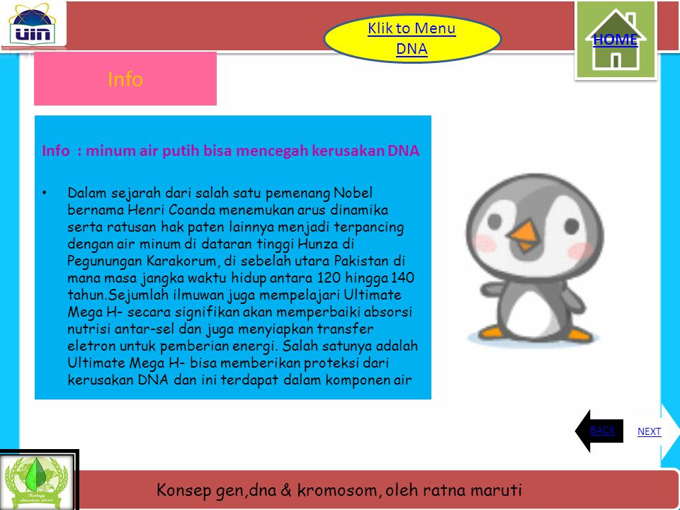 Info Klik to Menu DNA HOME
