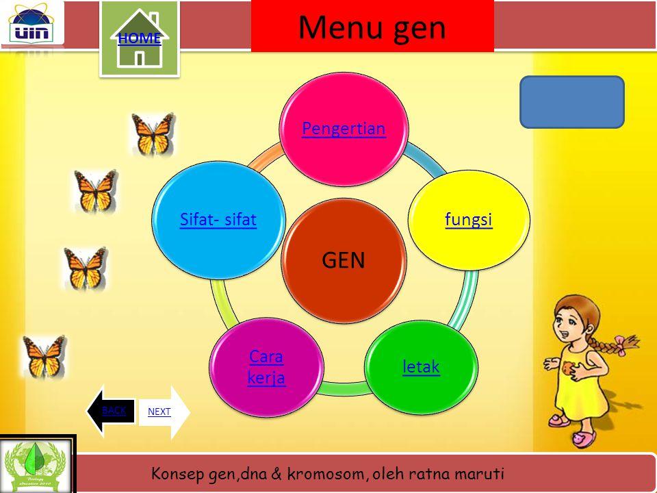 Menu gen GEN HOME Pengertian fungsi letak Cara kerja Sifat- sifat BACK