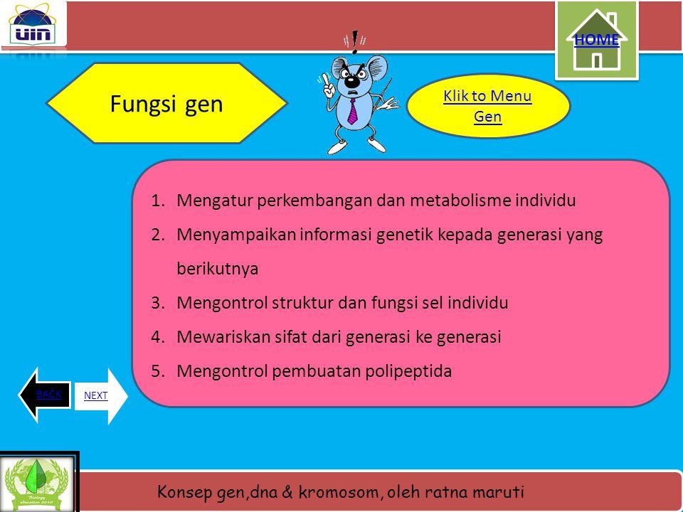 Fungsi gen Mengatur perkembangan dan metabolisme individu