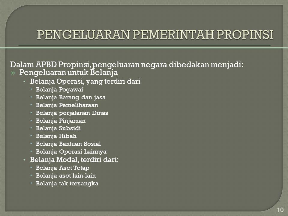 PENGELUARAN PEMERINTAH PROPINSI
