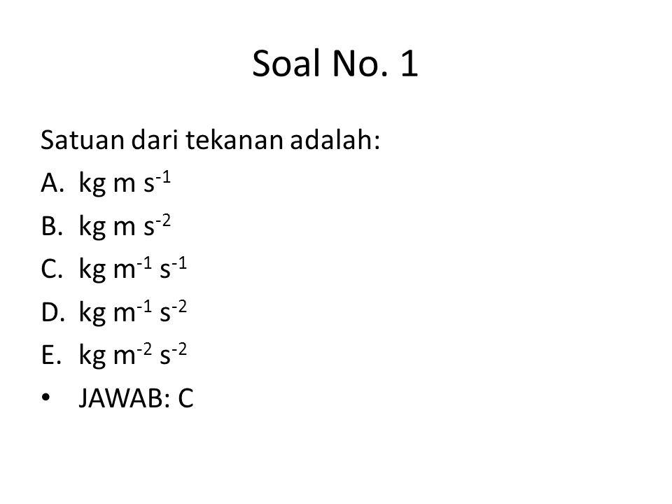 Soal No. 1 Satuan dari tekanan adalah: kg m s-1 kg m s-2 kg m-1 s-1