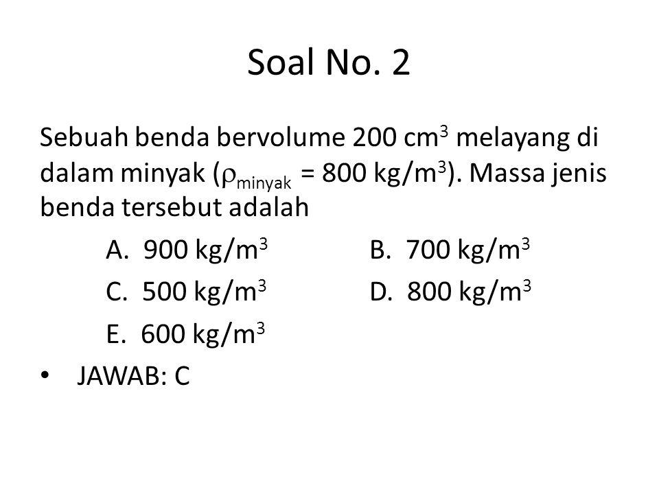 Soal No. 2 Sebuah benda bervolume 200 cm3 melayang di dalam minyak (minyak = 800 kg/m3). Massa jenis benda tersebut adalah.