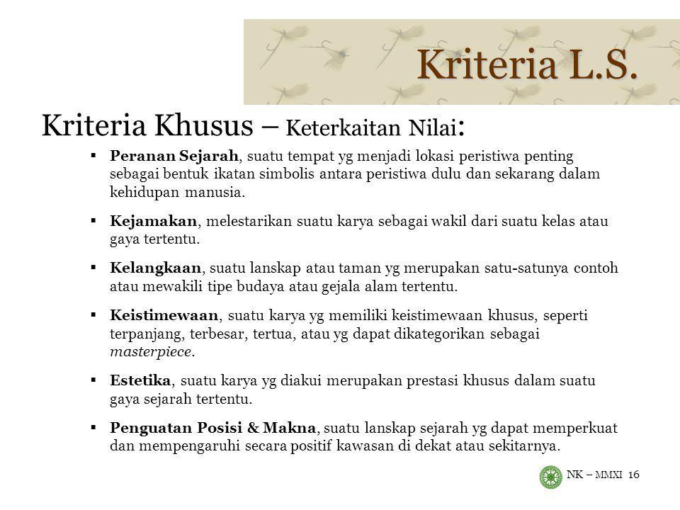 Kriteria L.S. Kriteria Khusus – Keterkaitan Nilai: