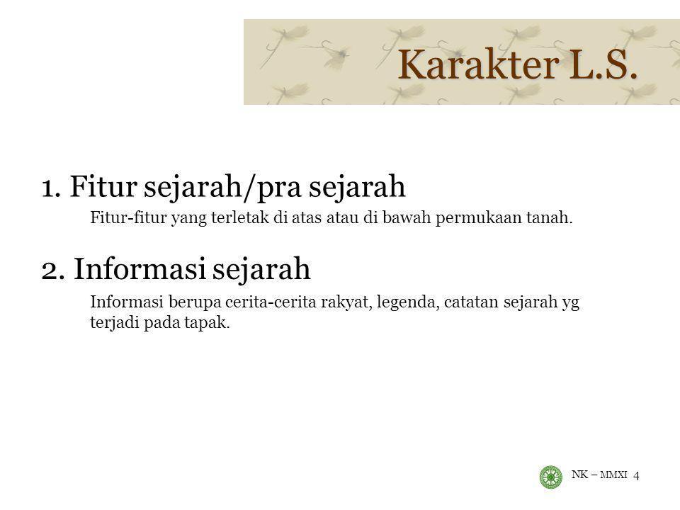 Karakter L.S. 1. Fitur sejarah/pra sejarah 2. Informasi sejarah