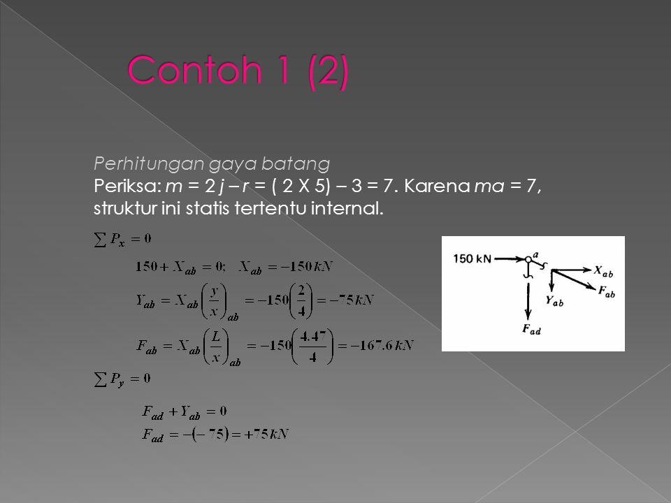 Contoh 1 (2) Perhitungan gaya batang