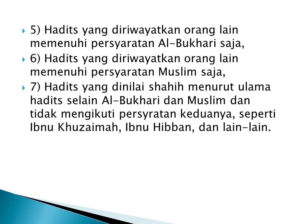 5) Hadits yang diriwayatkan orang lain memenuhi persyaratan Al-Bukhari saja,