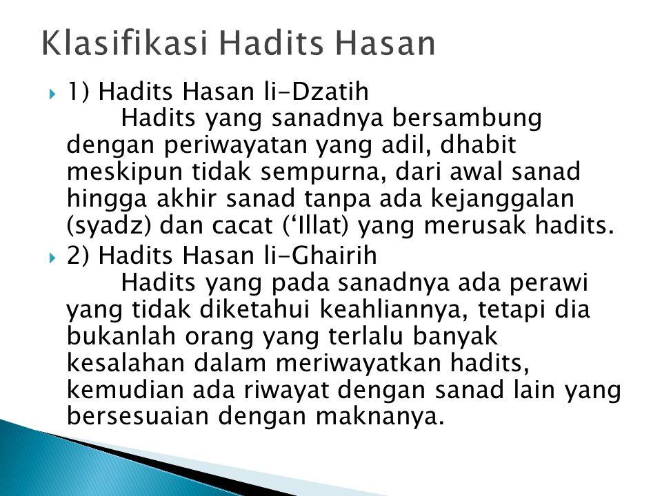 Klasifikasi Hadits Hasan