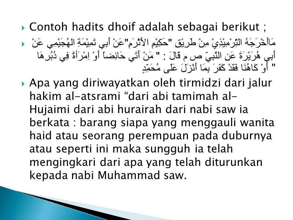 Contoh hadits dhoif adalah sebagai berikut ;