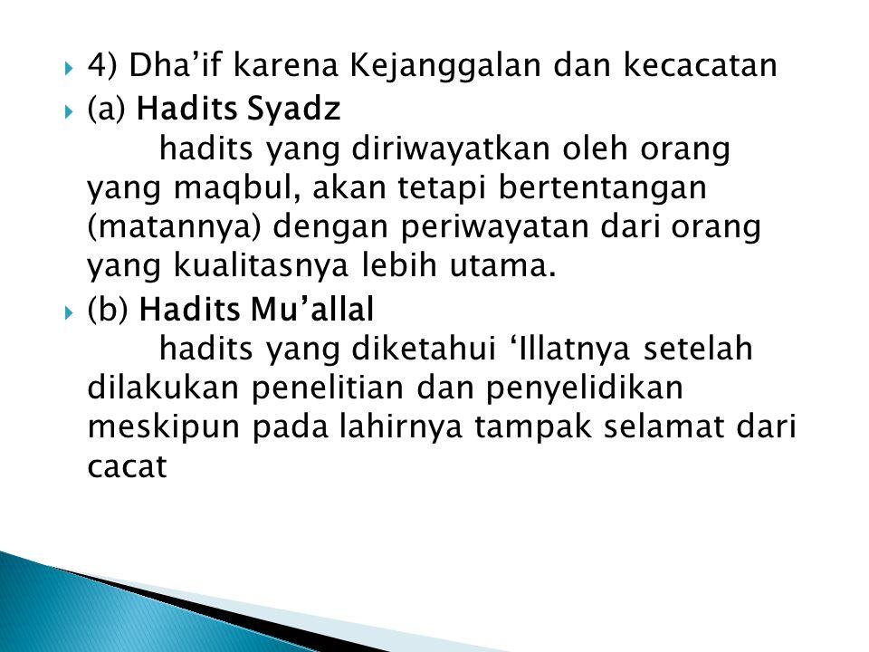 4) Dha'if karena Kejanggalan dan kecacatan