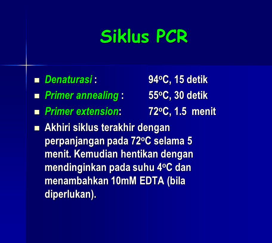 Siklus PCR Denaturasi : 94oC, 15 detik