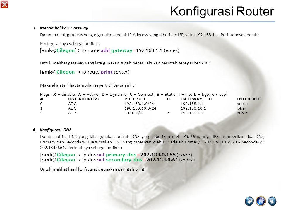 Konfigurasi Router Menambahkan Gateway