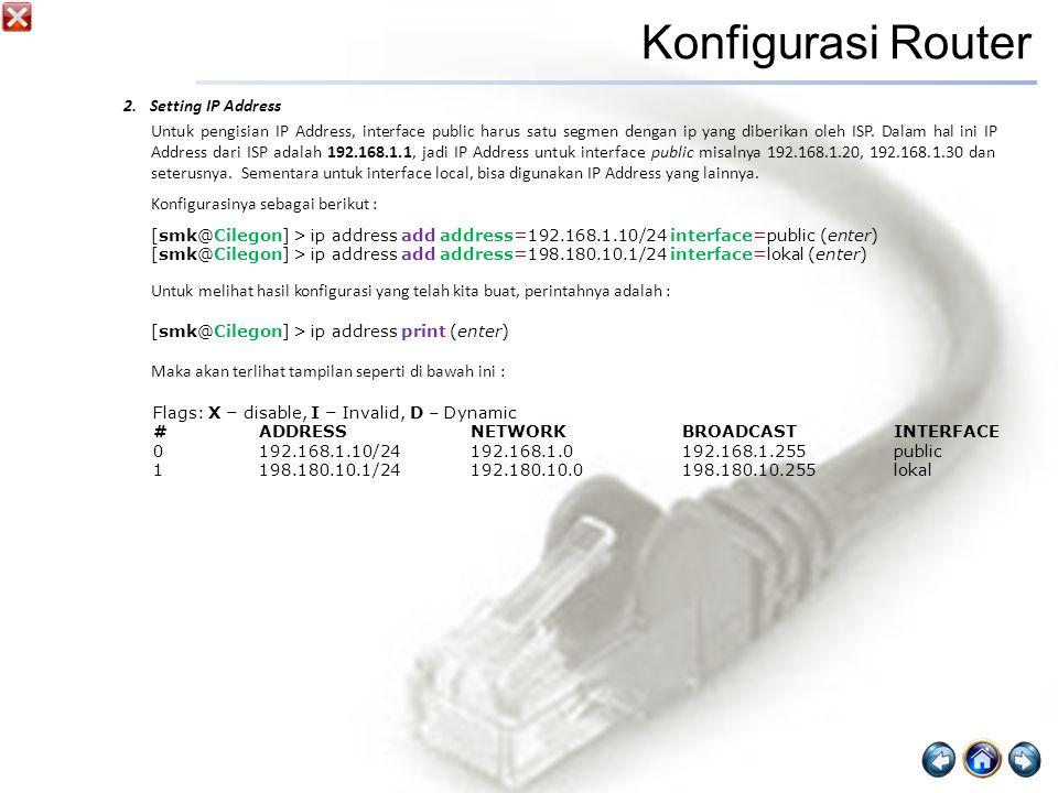 Konfigurasi Router Setting IP Address