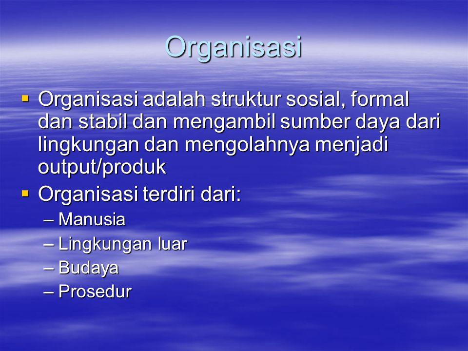 Organisasi Organisasi adalah struktur sosial, formal dan stabil dan mengambil sumber daya dari lingkungan dan mengolahnya menjadi output/produk.