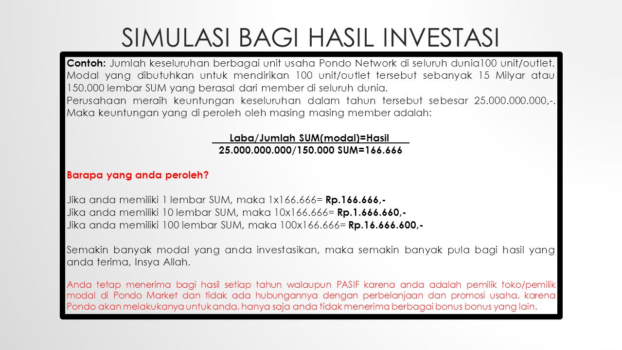 SIMULASI BAGI HASIL Investasi