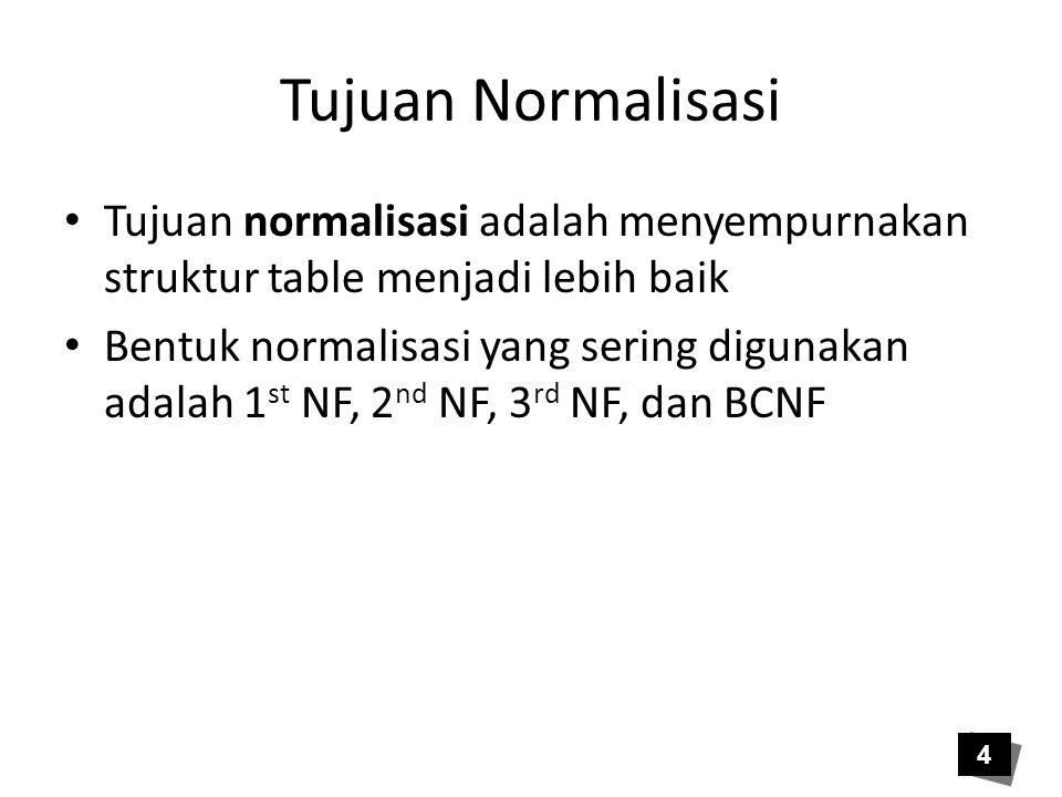 Tujuan Normalisasi Tujuan normalisasi adalah menyempurnakan struktur table menjadi lebih baik.