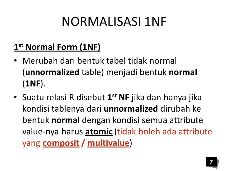 NORMALISASI 1NF 1st Normal Form (1NF)