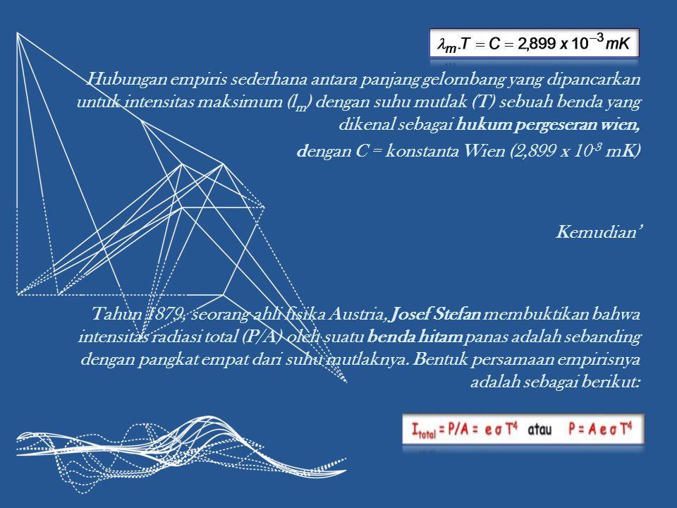 Hubungan empiris sederhana antara panjang gelombang yang dipancarkan untuk intensitas maksimum (lm) dengan suhu mutlak (T) sebuah benda yang dikenal sebagai hukum pergeseran wien, dengan C = konstanta Wien (2,899 x 10-3 mK) Kemudian' Tahun 1879, seorang ahli fisika Austria, Josef Stefan membuktikan bahwa intensitas radiasi total (P/A) oleh suatu benda hitam panas adalah sebanding dengan pangkat empat dari suhu mutlaknya.