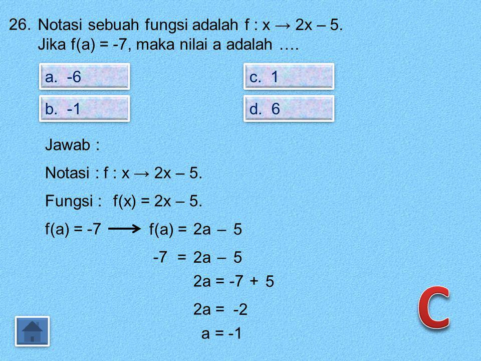 C 26. Notasi sebuah fungsi adalah f : x → 2x – 5.