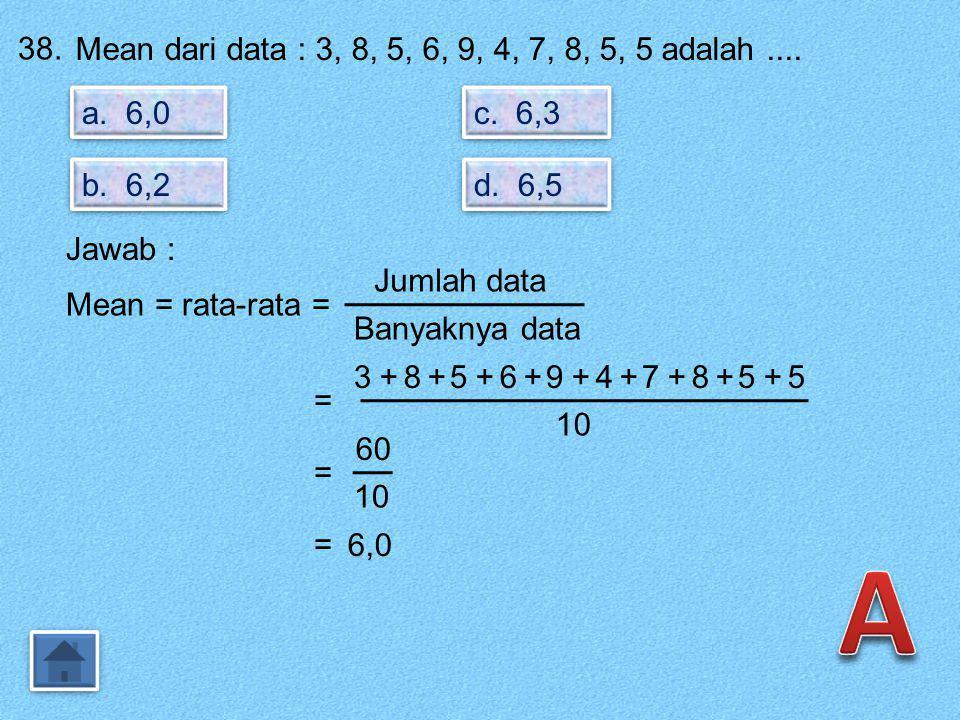 A 38. Mean dari data : 3, 8, 5, 6, 9, 4, 7, 8, 5, 5 adalah .... a. 6,0