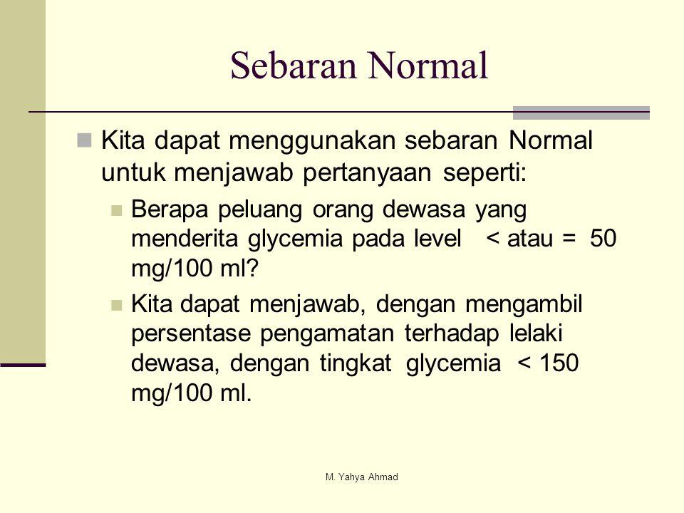 Sebaran Normal Kita dapat menggunakan sebaran Normal untuk menjawab pertanyaan seperti: