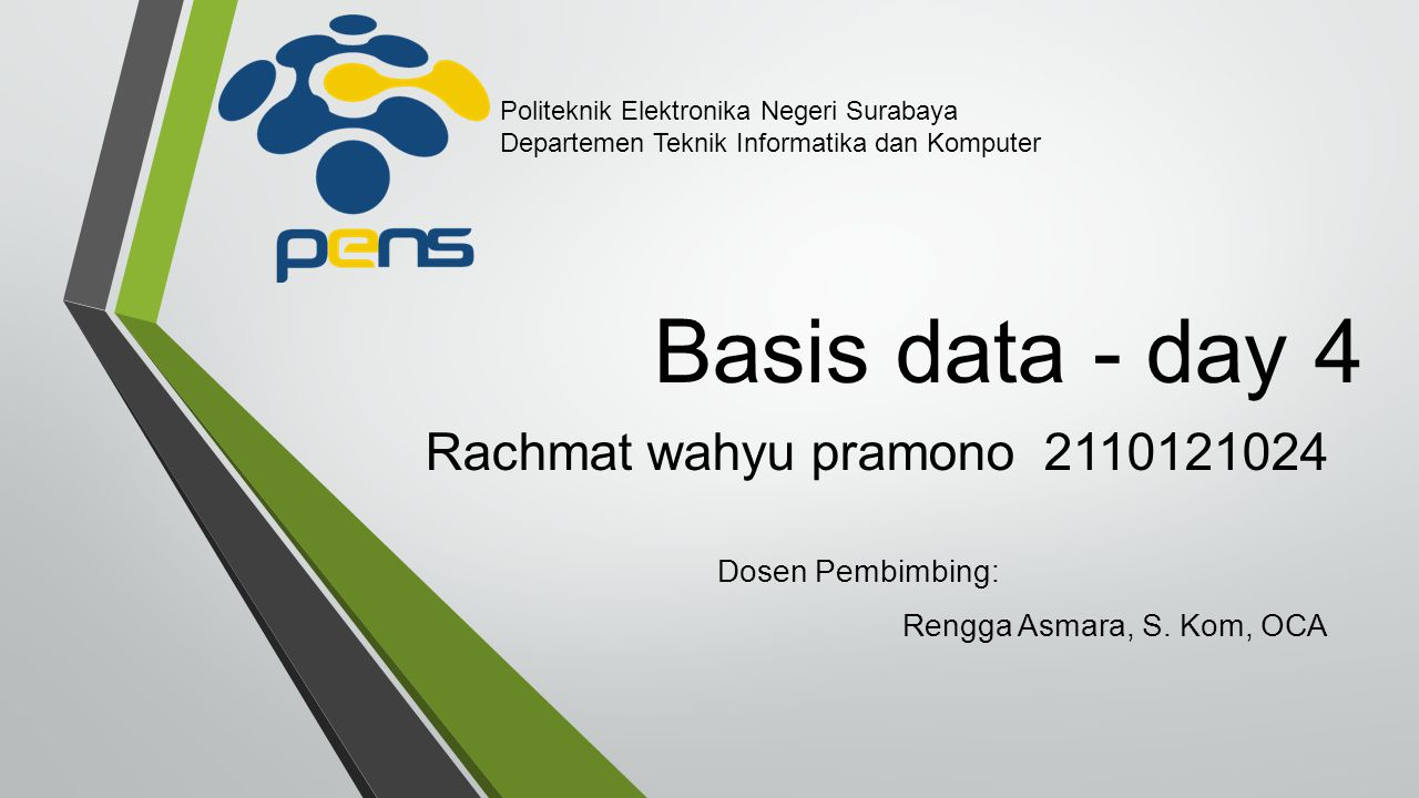 Basis data - day 4 Rachmat wahyu pramono 2110121024 Dosen Pembimbing: